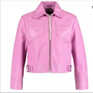 Authentic Coach Puce Pink Leather Moto Jacket